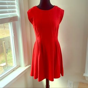 TopShop bright cap sleeve red dress Sz 8